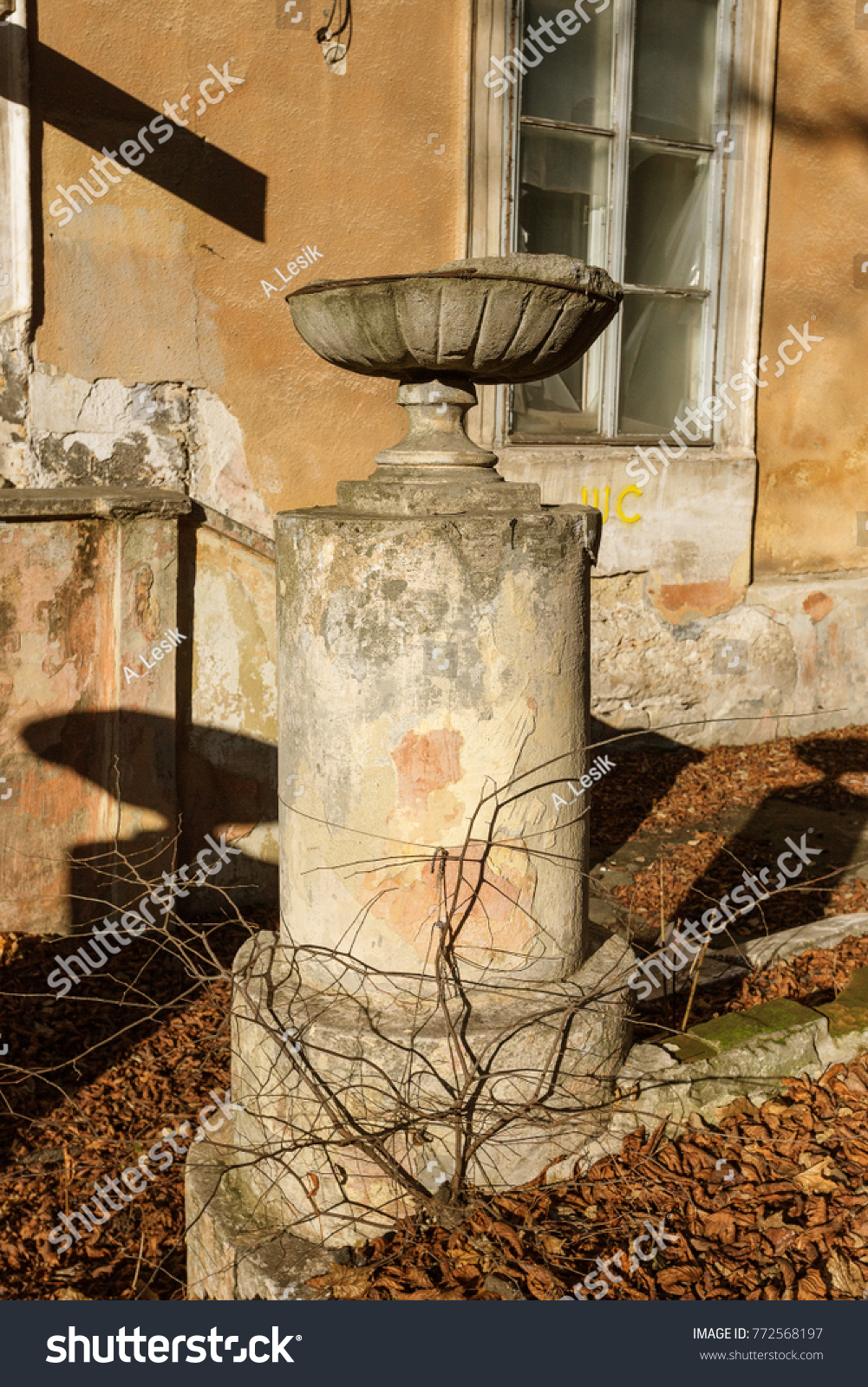 Old Overgrown Ruined Stone Balustrades Old Stock Photo (100% Legal ...
