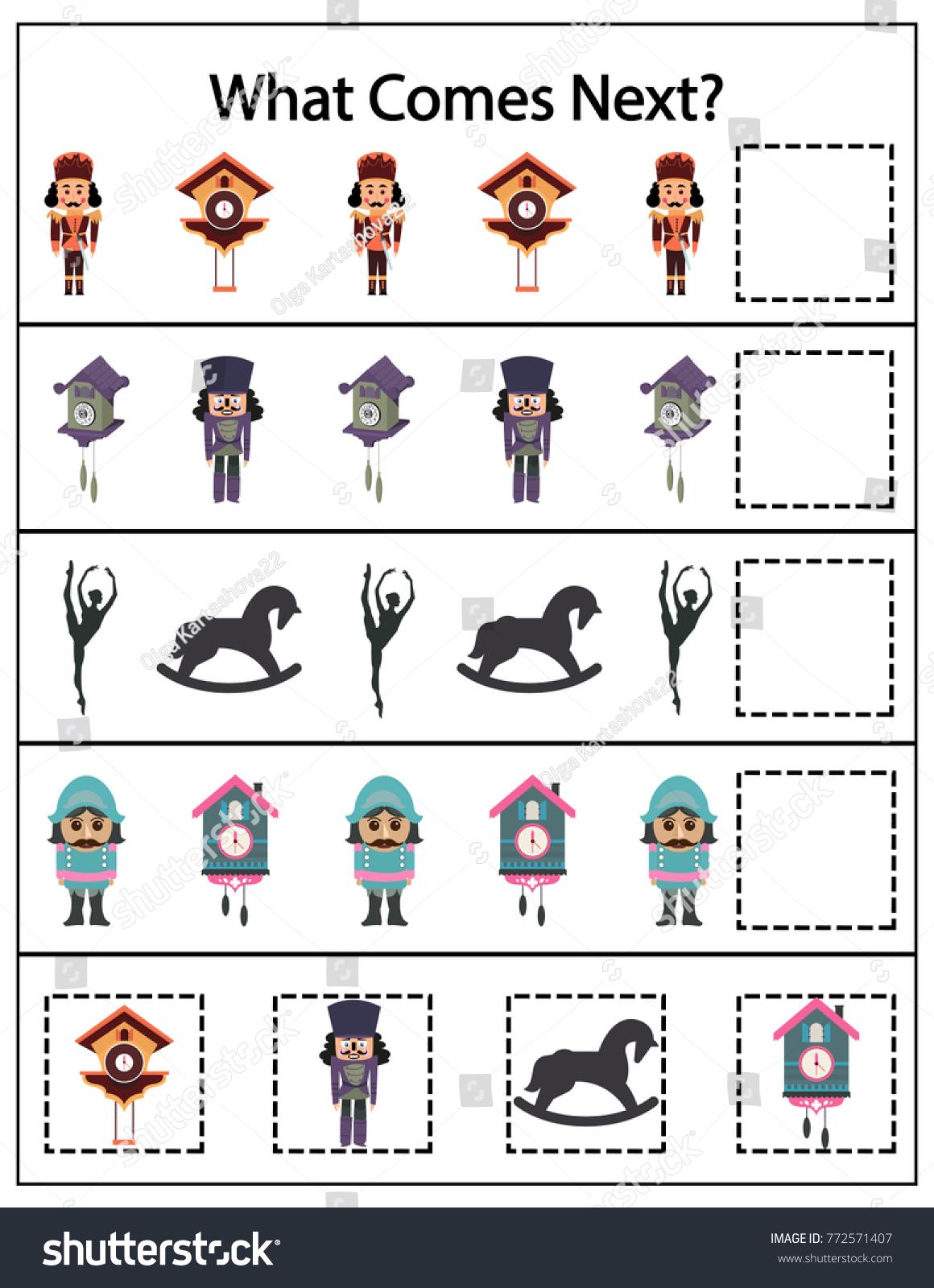 What Comes Next Kindergarten Worksheet Kids Stock Vector 772571407 ...