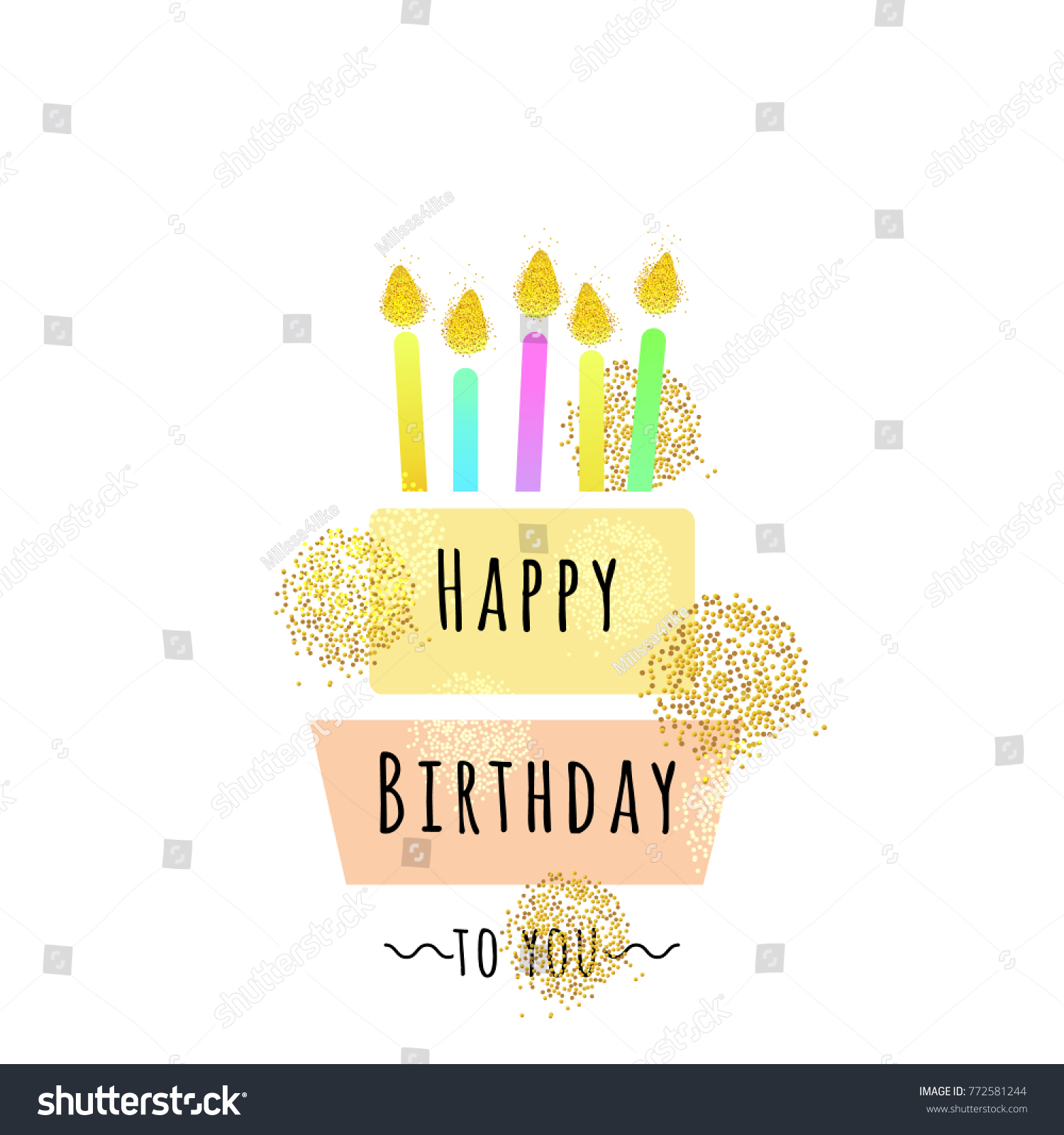 Happy Birthday Card Cake Candles Cute Stock Vector