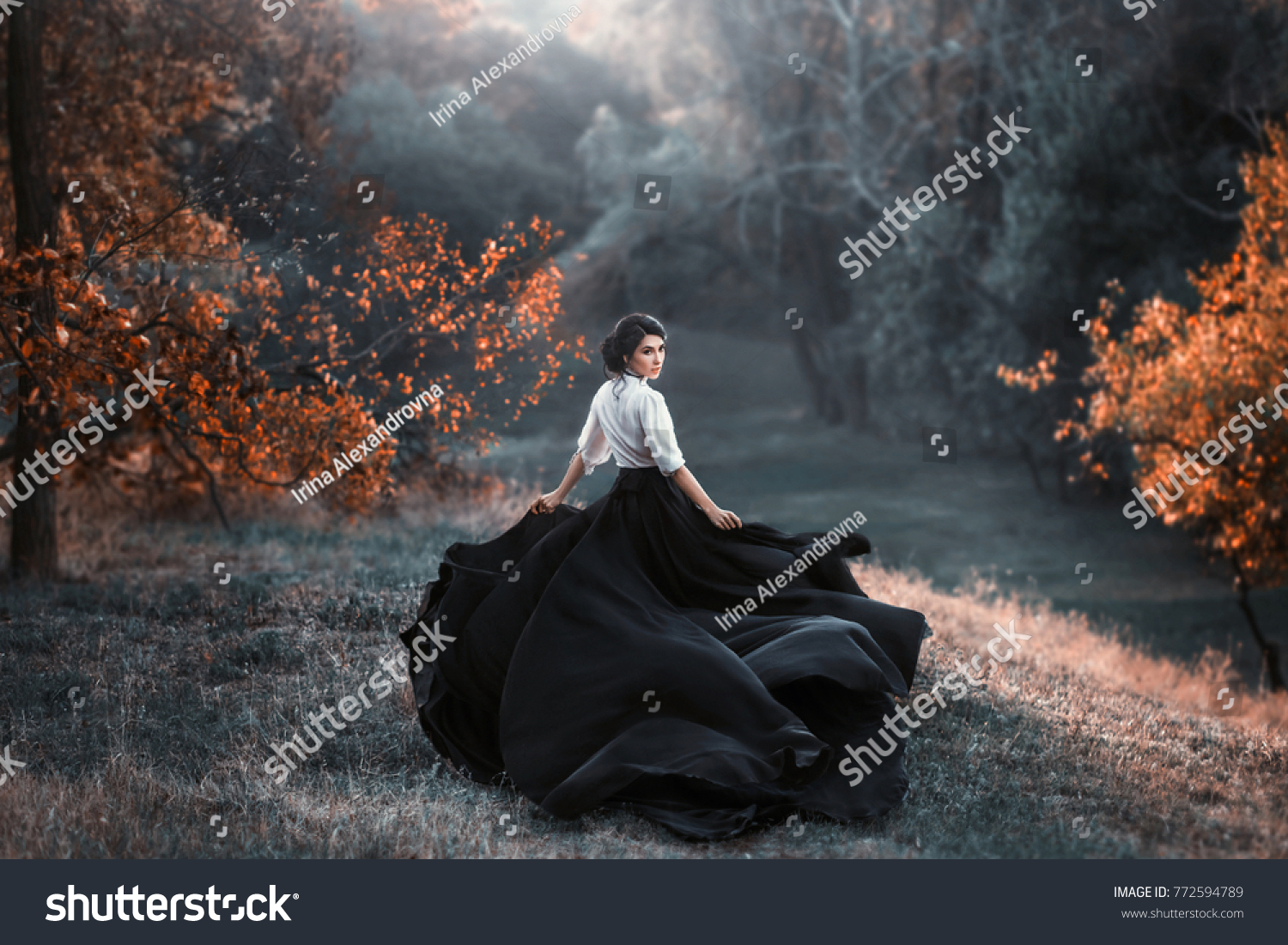 Girl Vintage Dress Running Looking Around Stock Photo Edit Now