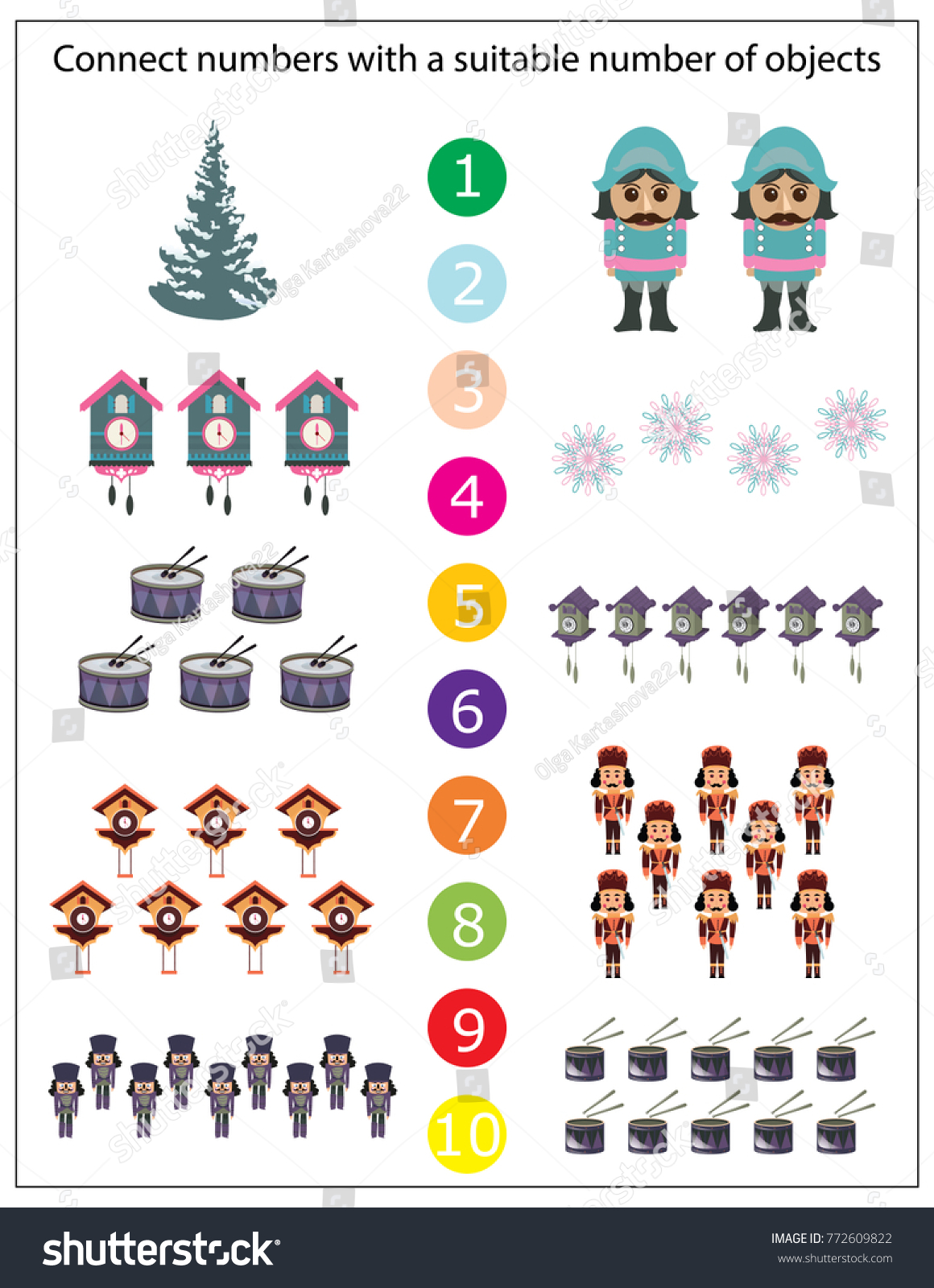 Mathematics Kindergarten Worksheet Kids Printable Game Stock Vector ...