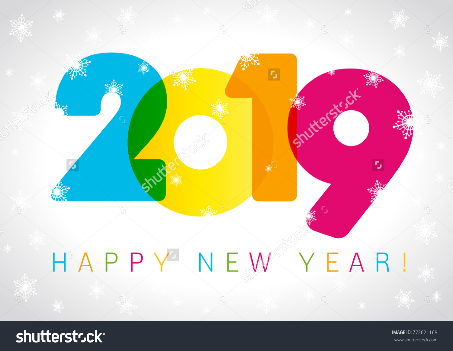 2019 Happy New Year card design. Vector happy new year greeting  illustration with colored 2019