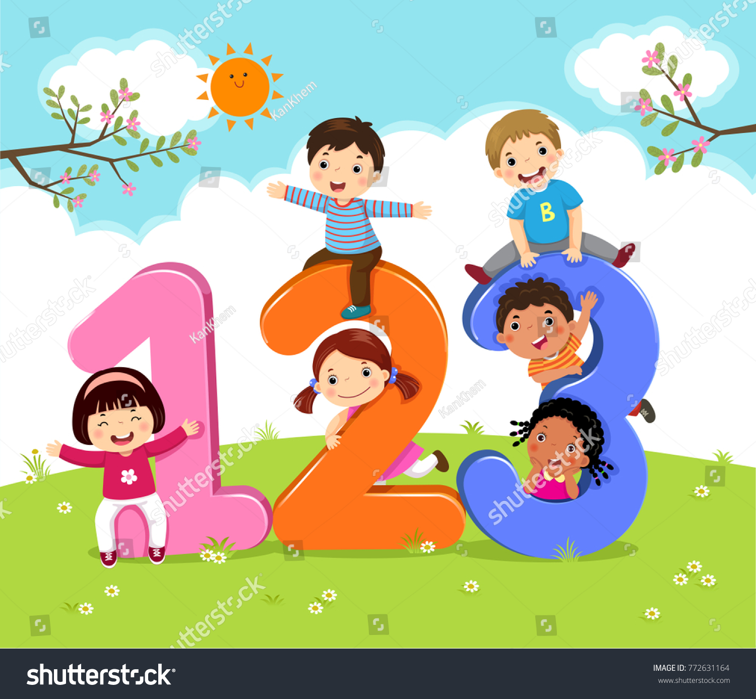 cartoon kids with 123 numbers - Kids Cartoon Picture