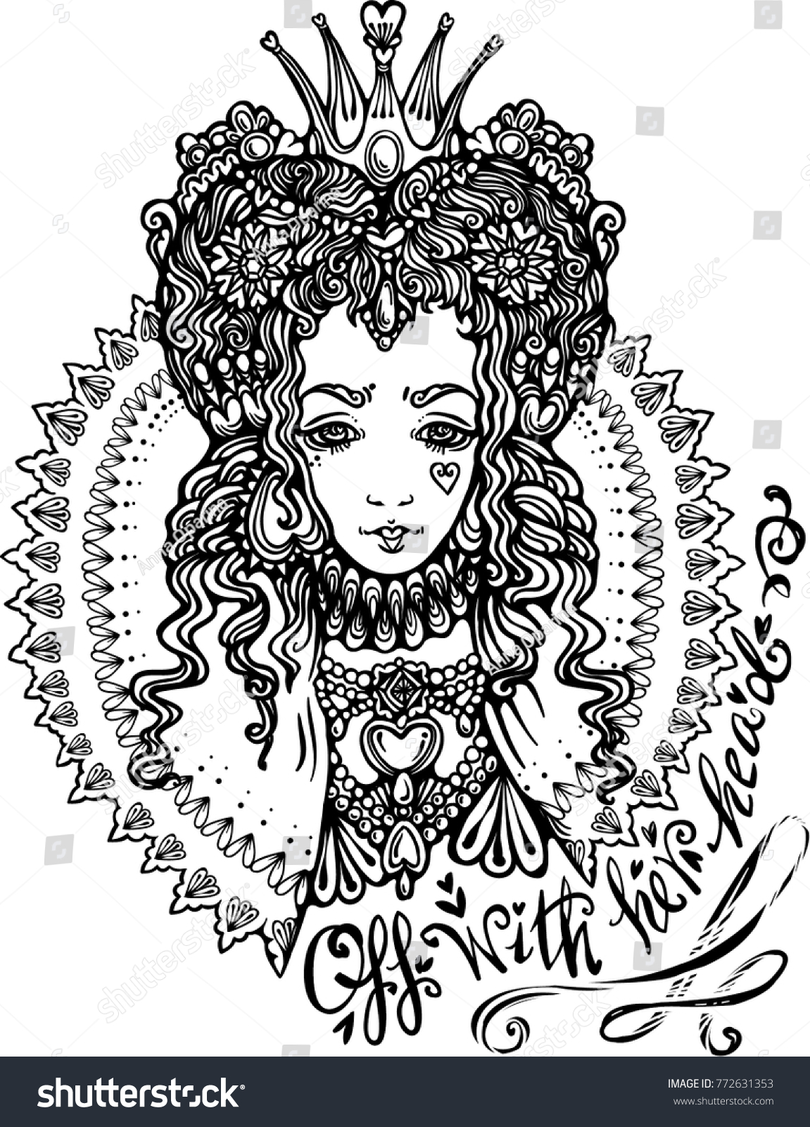 Red Queen Hearts Coloring Book Vector Stock Photo (Photo, Vector ...