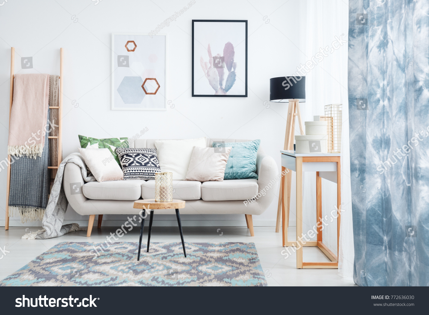 Blue Curtain Posters Carpet Living Room Stock Photo (Royalty Free ...