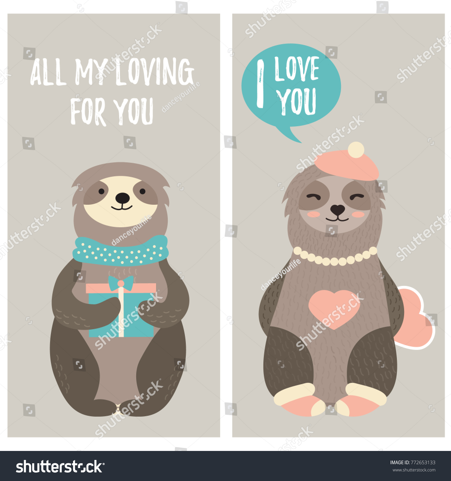Card With Cute Sloths And Text. Perfect For Valentineu0027s Day