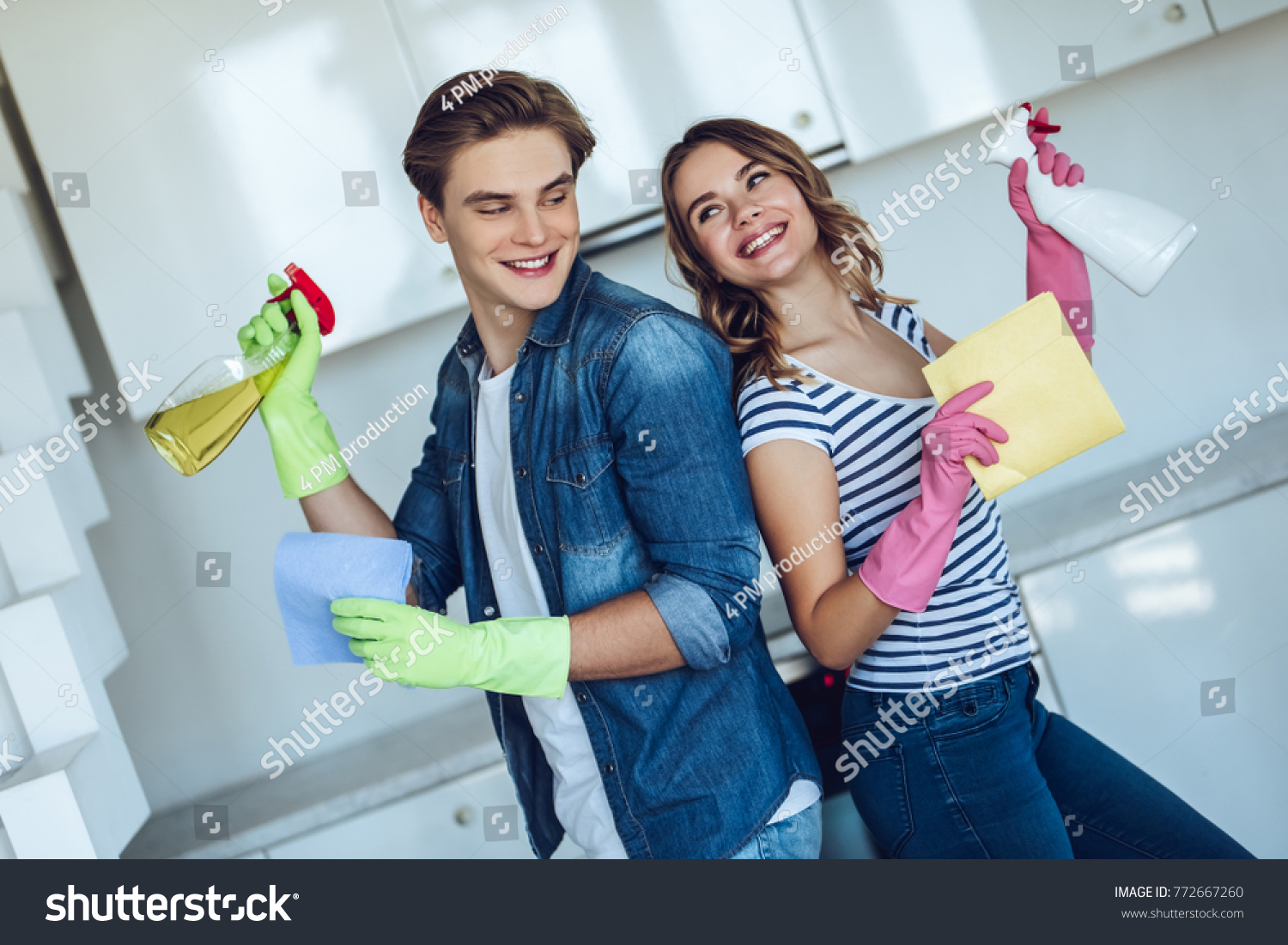 Young Happy Couple Washing Kitchen While Stock Photo (Royalty Free ...