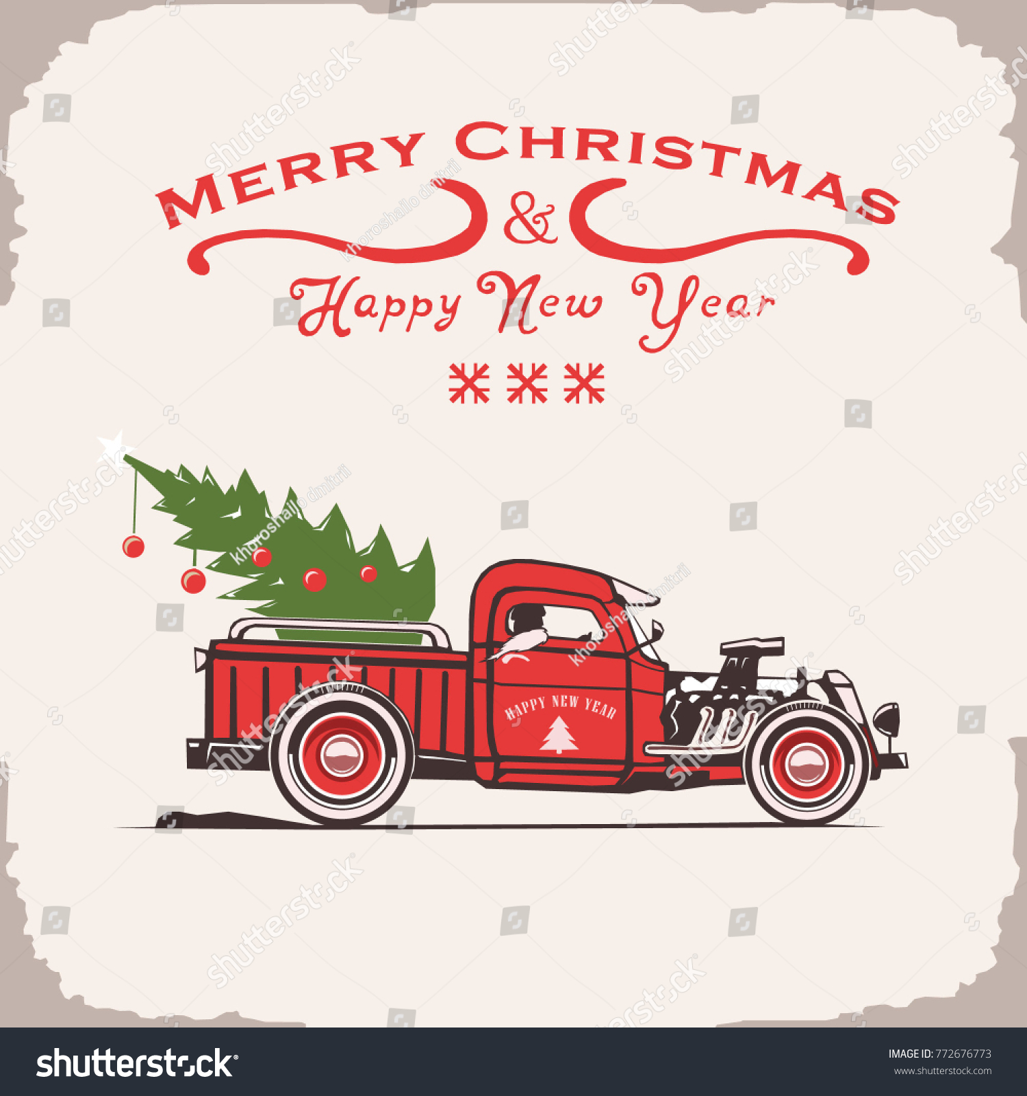 Vector Merry Christmas And Happy New Year Truck Side View Retro Poster Vintage