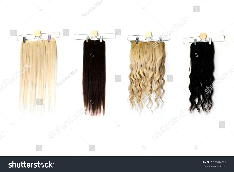 Natural Human Hair Extensions Hung On Stock Photo Royalty Free