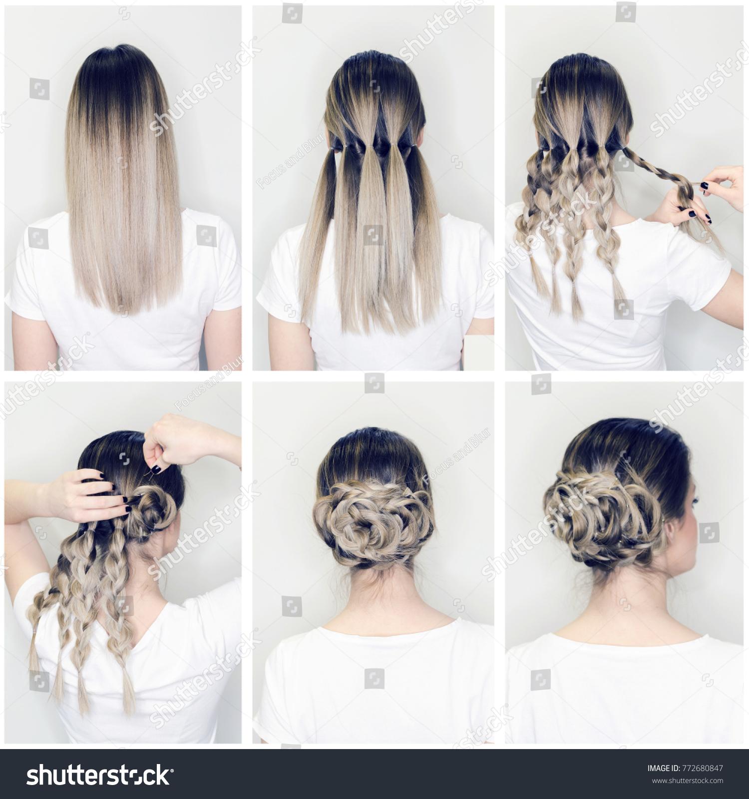 Elegant Updo Much Braids Hairstyle Tutorial Stock Photo Edit Now