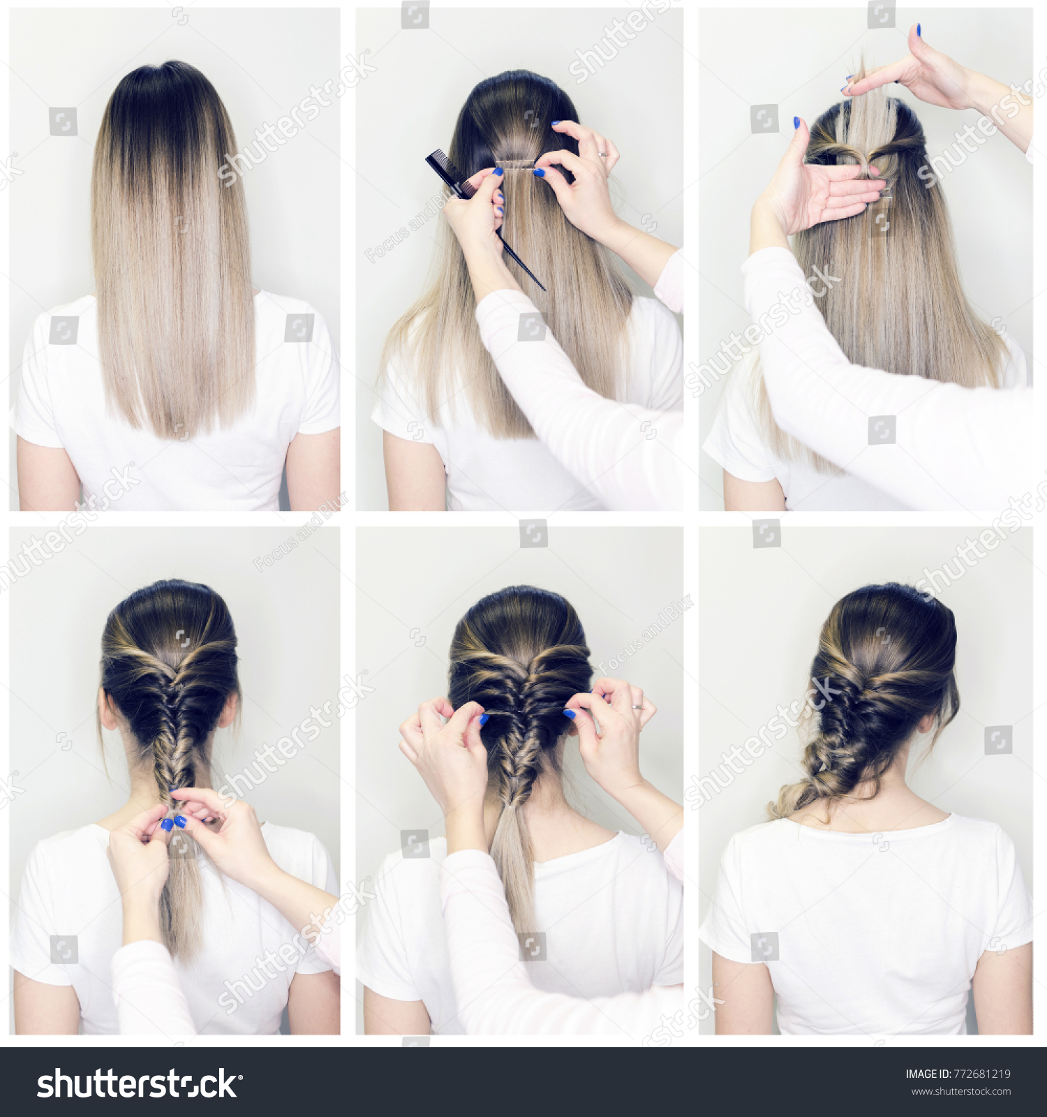 Simple Hairstyle Volume Plait On Straight Stock Photo Edit Now