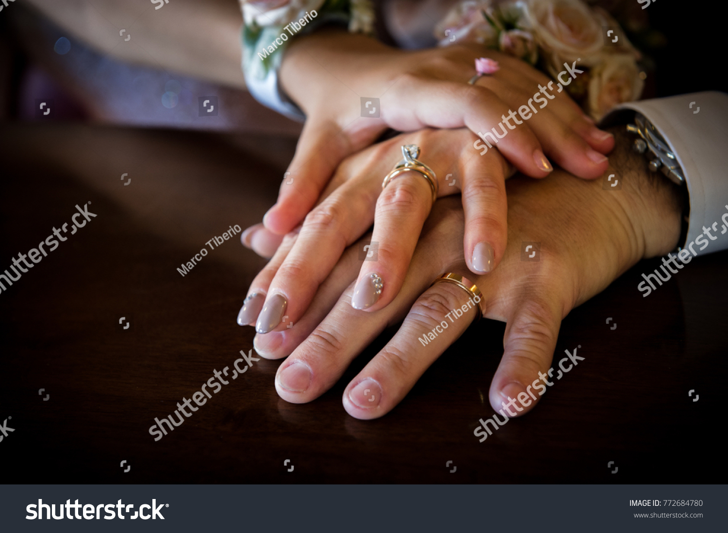 A mature couple in second marriage, with the daughter of the bride and her  foster