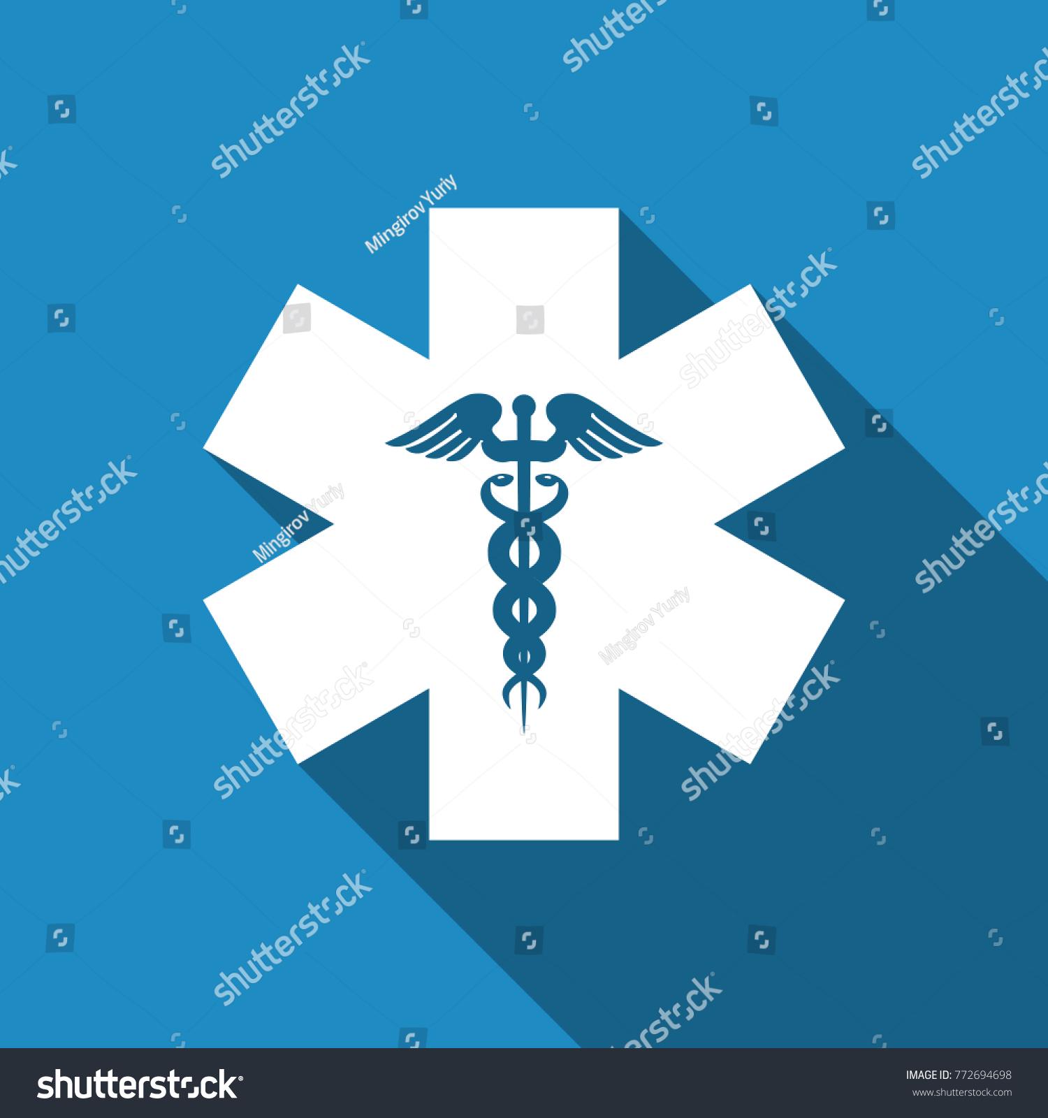 Emergency Star Medical Symbol Caduceus Snake Stock Vector Royalty