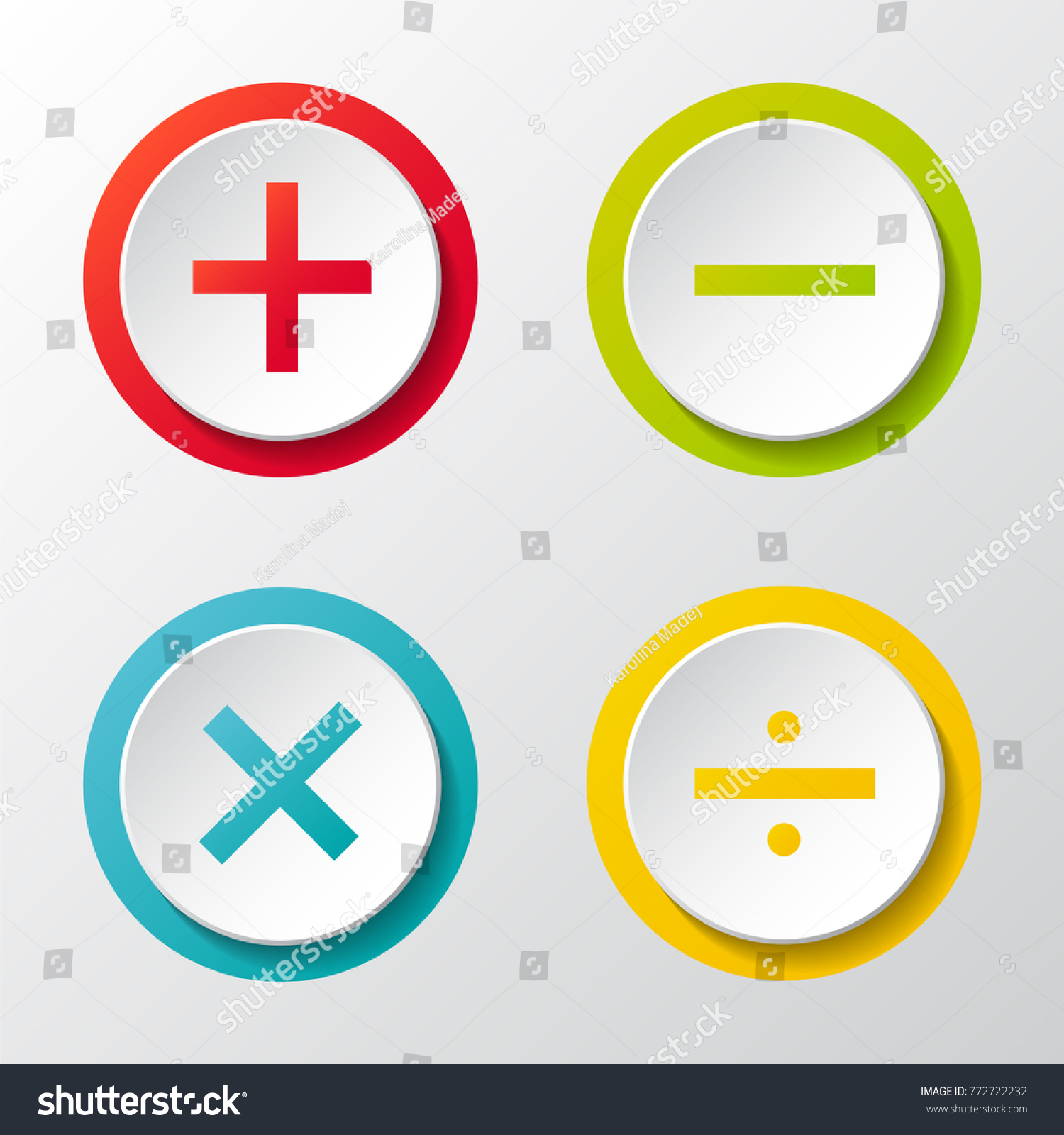 Collection Math Symbols 3 D Buttons Vector Stock Vector Royalty