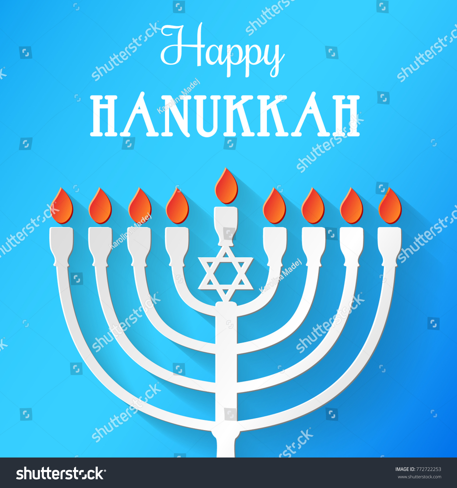 Hanukkah Card Jewish Holidays Menorah Greetings Stock Vector