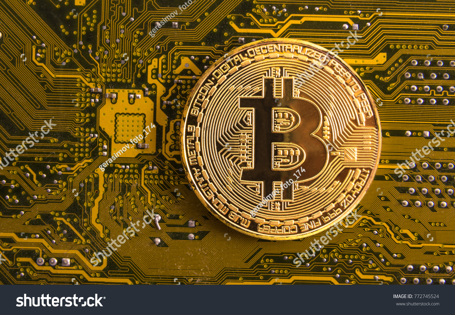 Bitcoin Concept Gold Coin Computer Circuit Stock Photo Edit Now Boards With Clock Hands Royalty Free Image Board Processor And Microchips Electronic