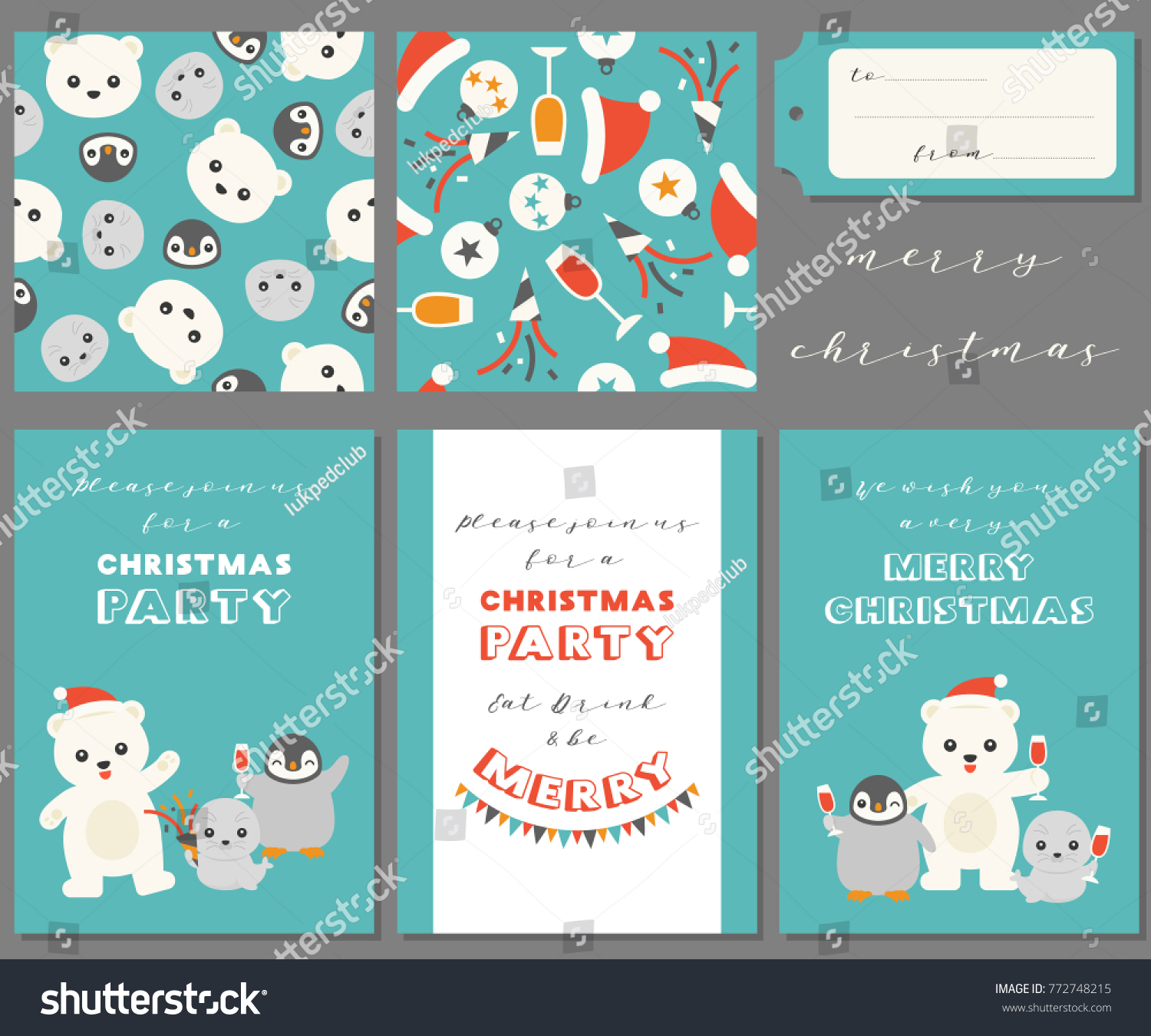 Antarctic Friends Merry Christmas Greeting Card Stock Vector