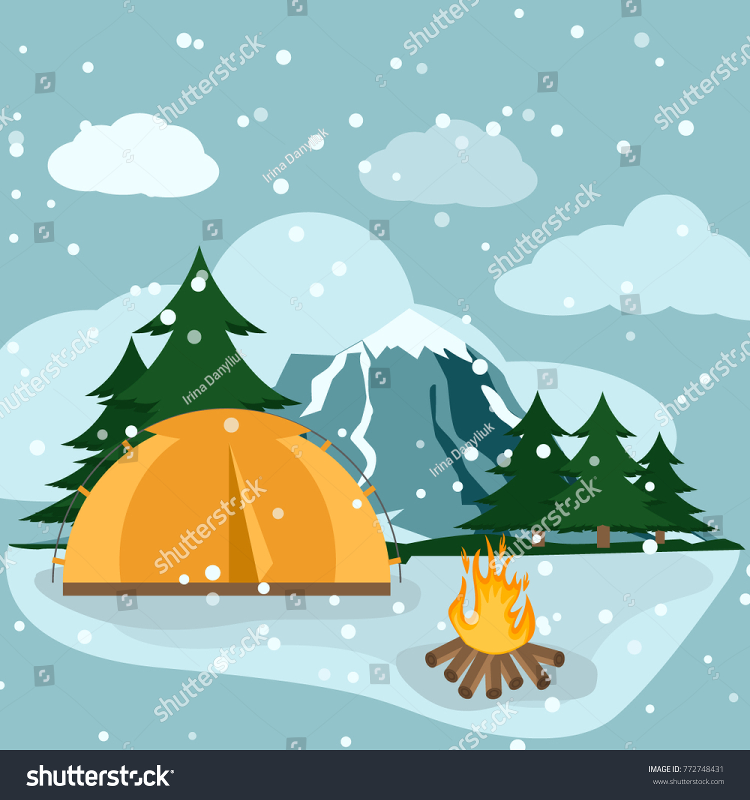 Camping Winter Hiking Adventure Tourist Landscape Stock Vector ...