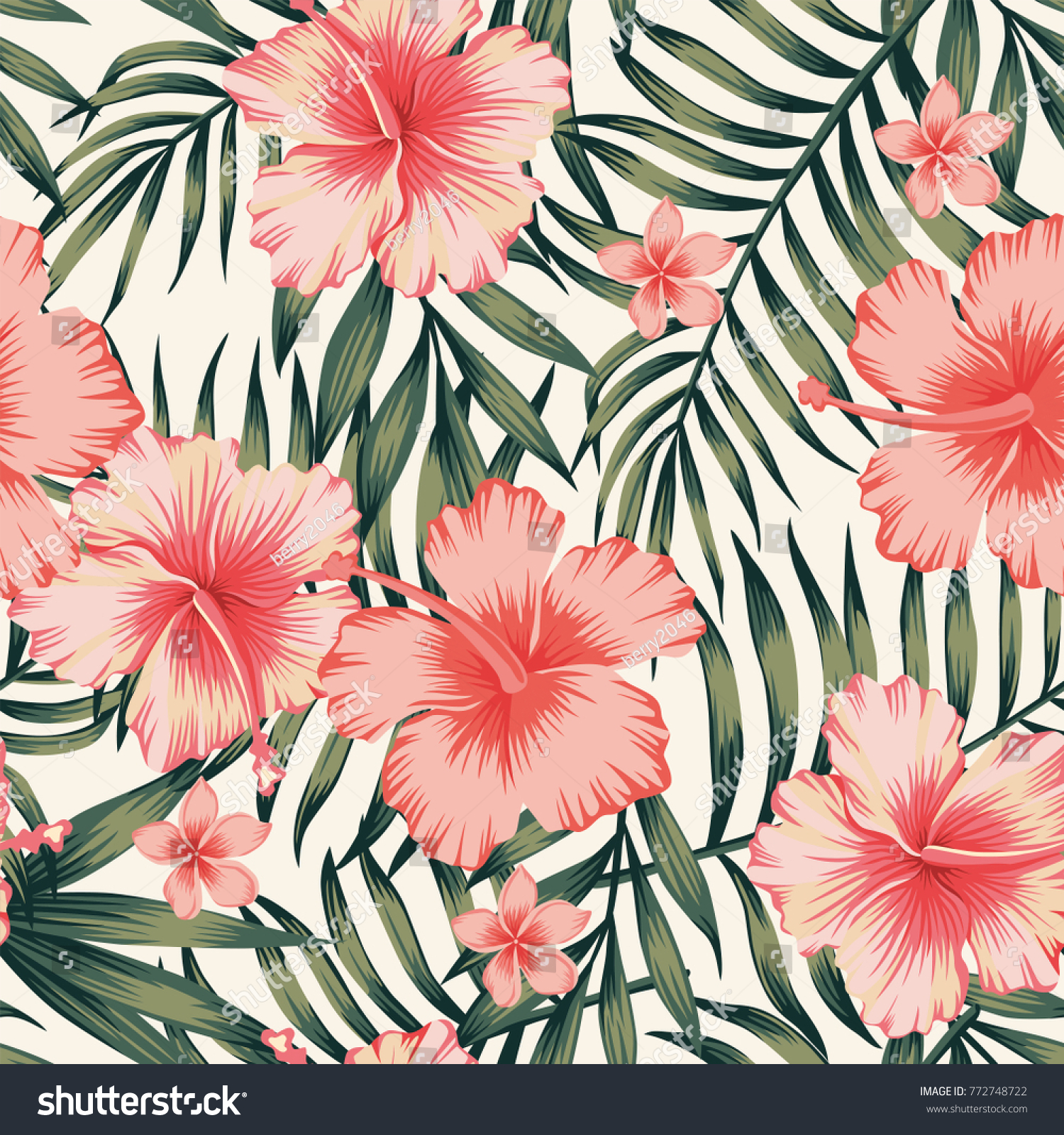 tropical flower pink hibiscus palm leaves stock photo (photo, vector