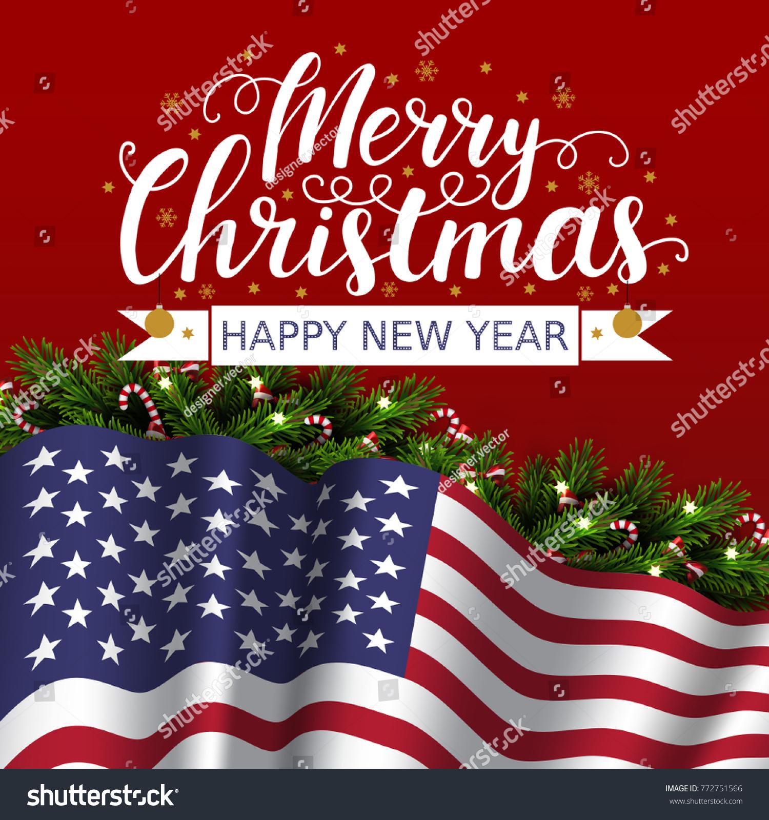Vector Christmas Patriotic Card Tree Lettering Stock Vector (Royalty ...