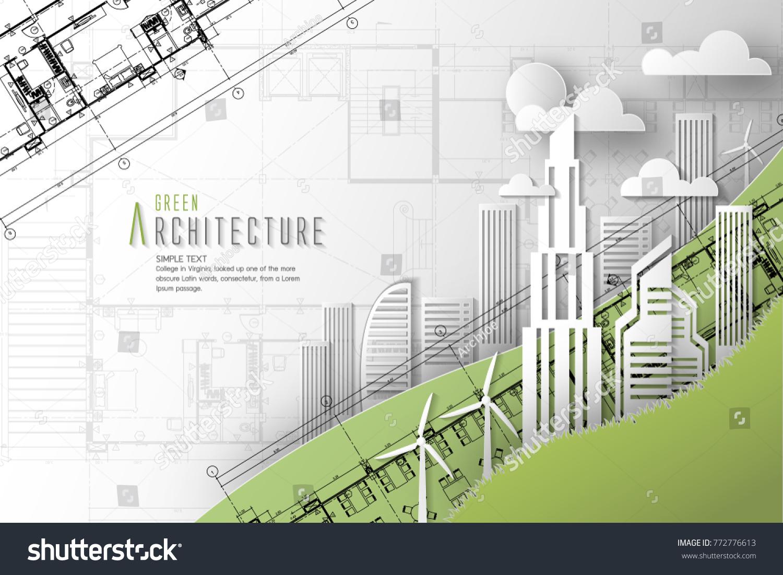 Architecture eco world environment day blueprint stock vector architecture of eco and world environment day with blueprint backgroundper art style malvernweather Choice Image