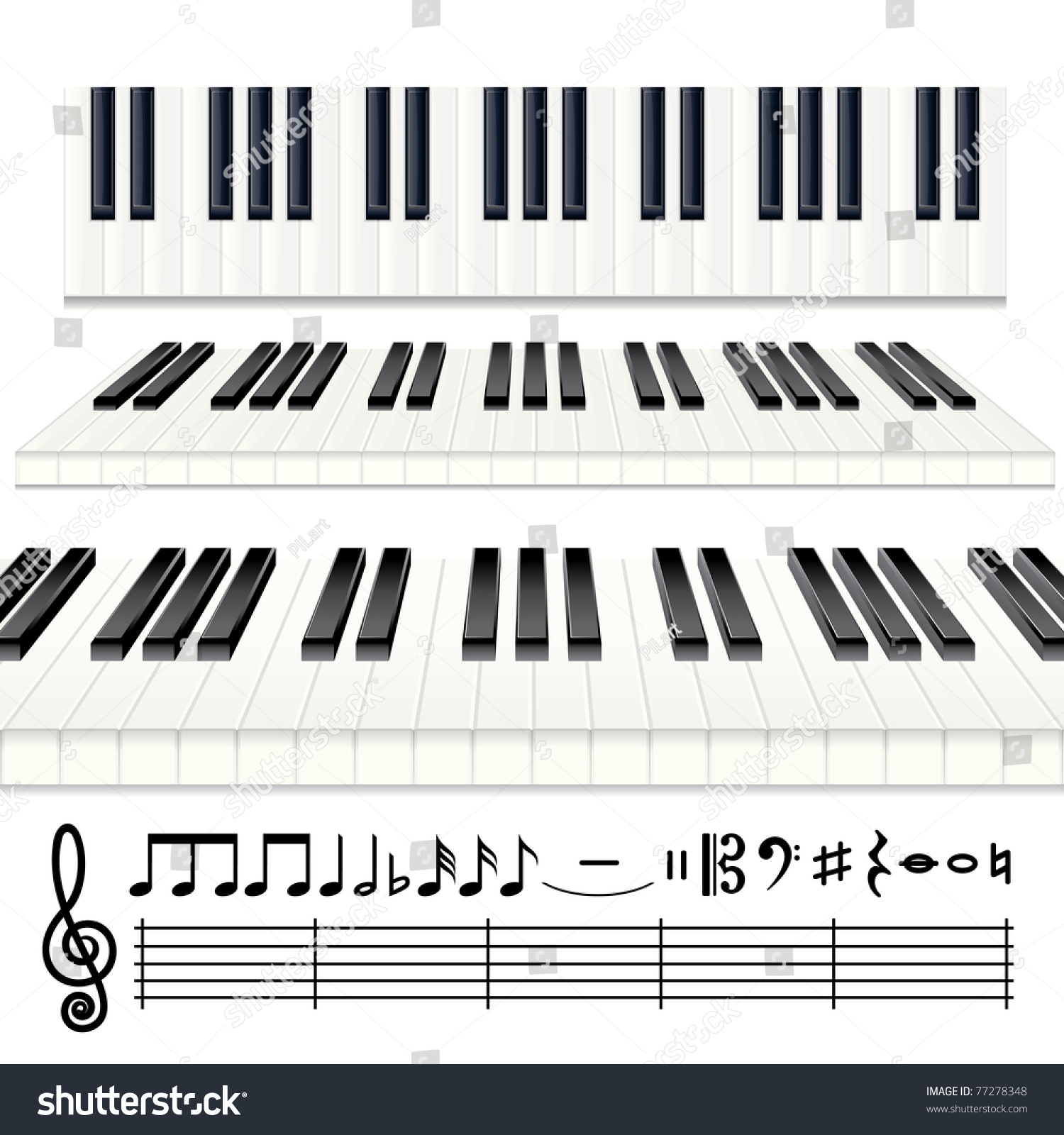 Music Design Elements Vector Piano Keys Stock Vector Royalty Free
