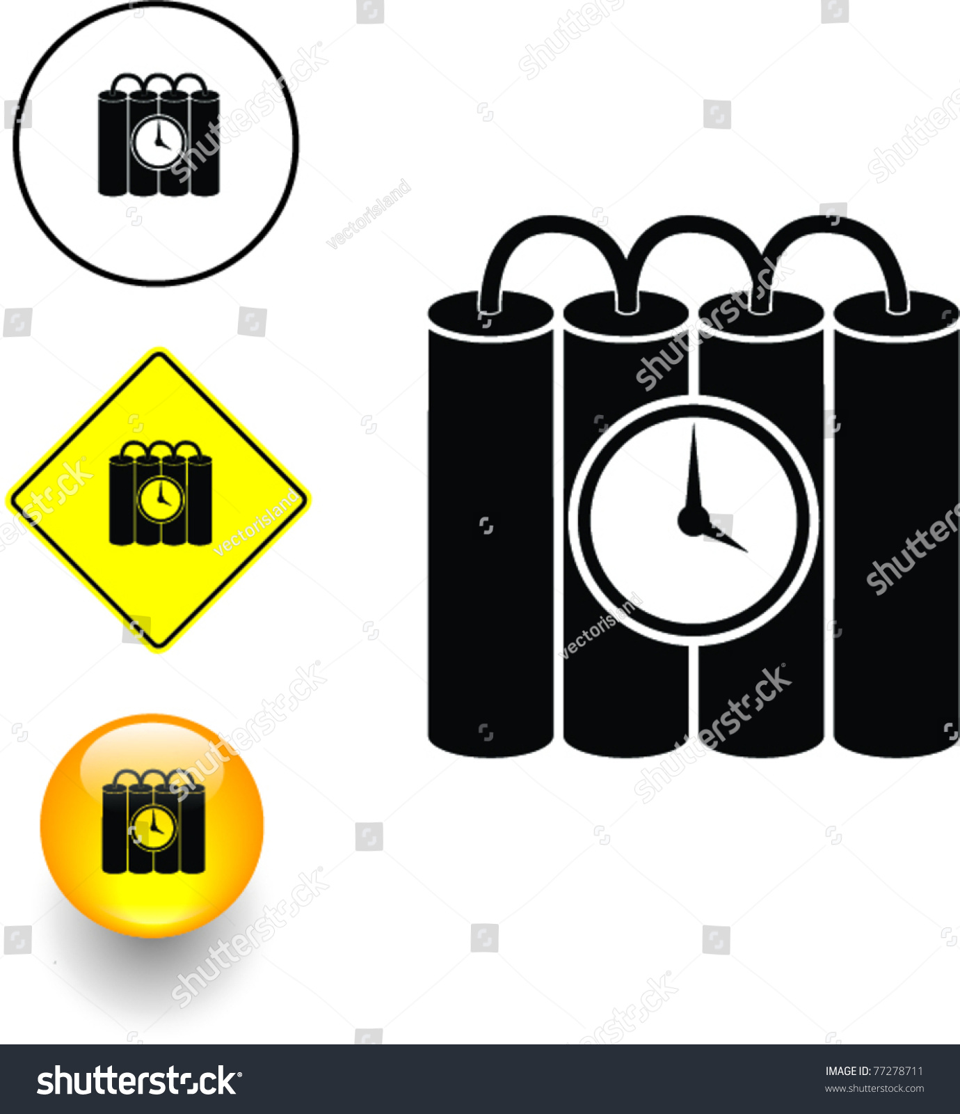 Time Bomb Symbol Sign Button Stock Vector Royalty Free 77278711