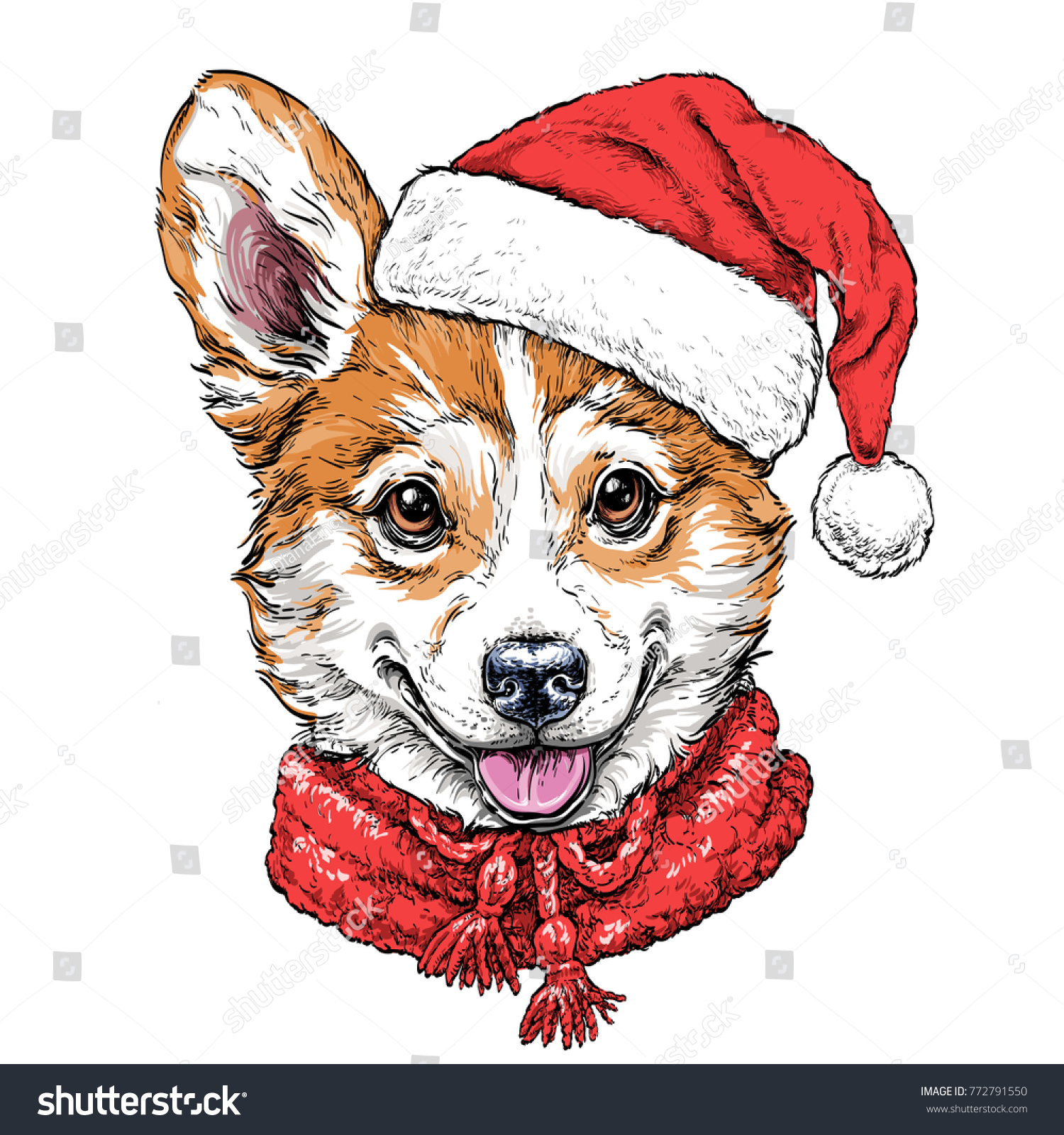 Christmas card puppy pembroke welsh corgi stock vector 772791550 christmas card with puppy pembroke welsh corgi portrait in red santas hat and scarf vector kristyandbryce Image collections