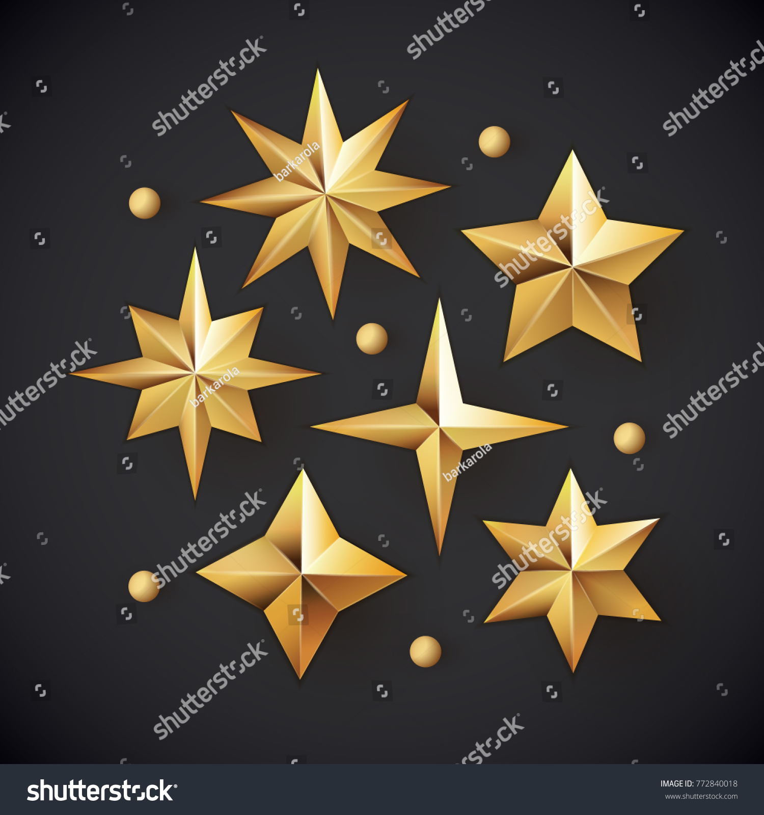 glowing realistic golden stars background isolated stock vector