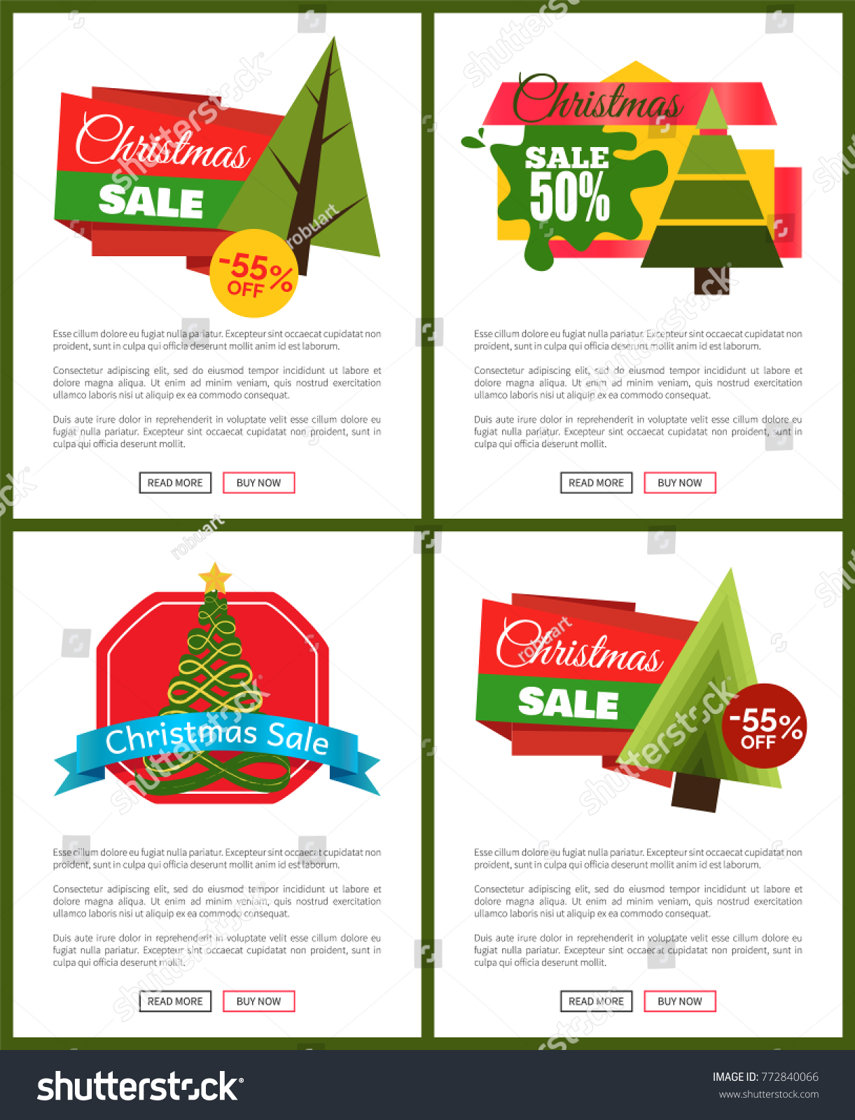 set of christmas sale hot price 50 off posters vector illustration with cute new year