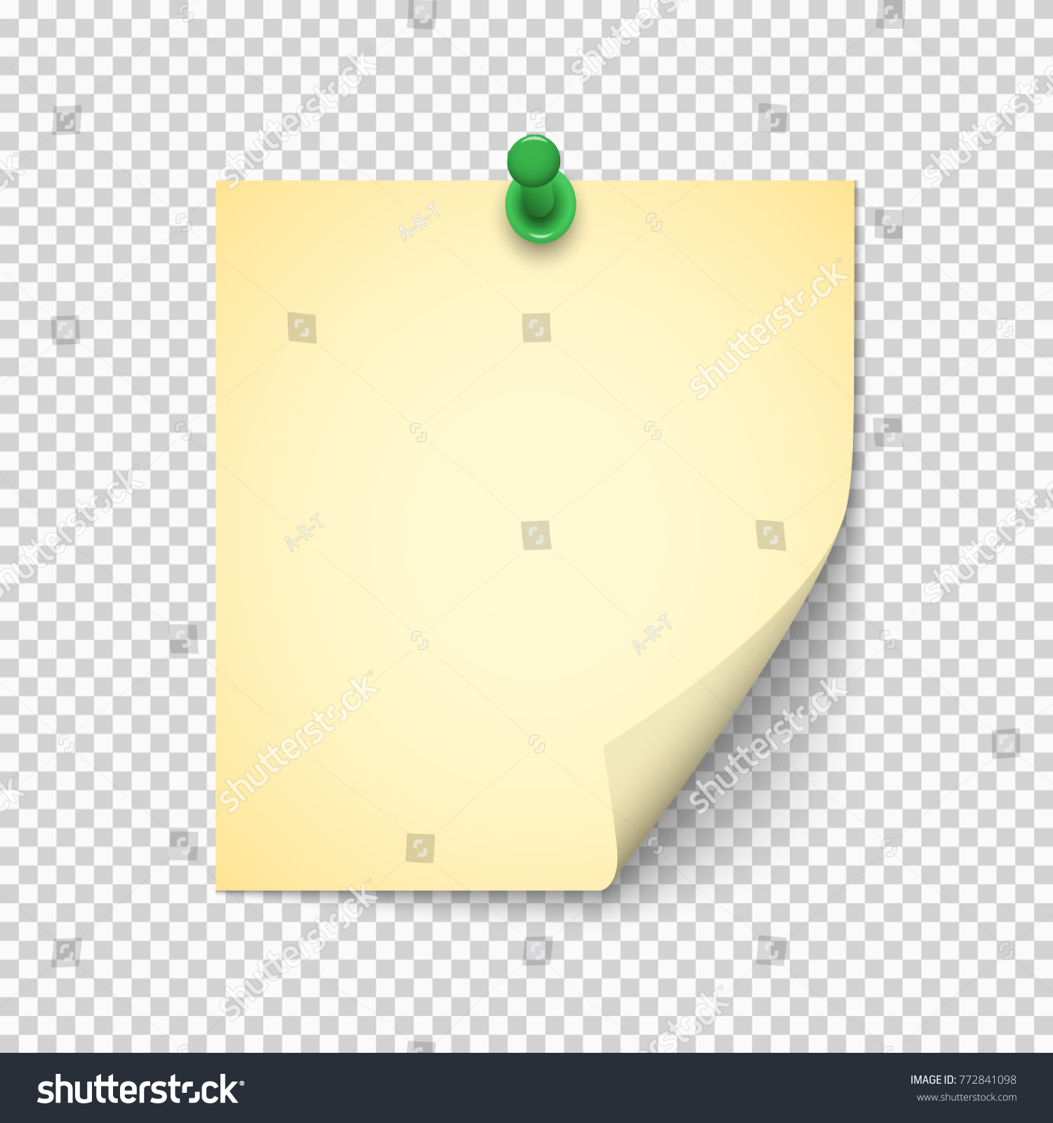 Note Paper Shadow Pushpin On Transparent Stock Vector (2018 ...