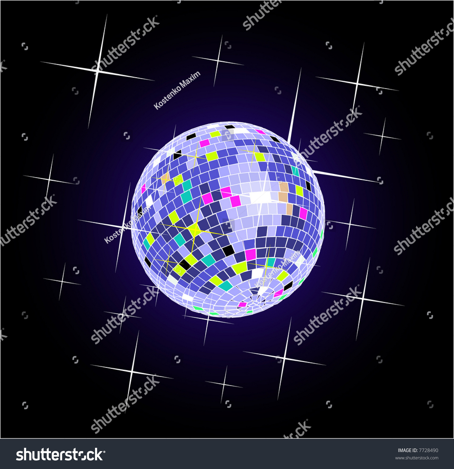 Color disco ball vector holiday background 7728490 for Disco ball coloring page
