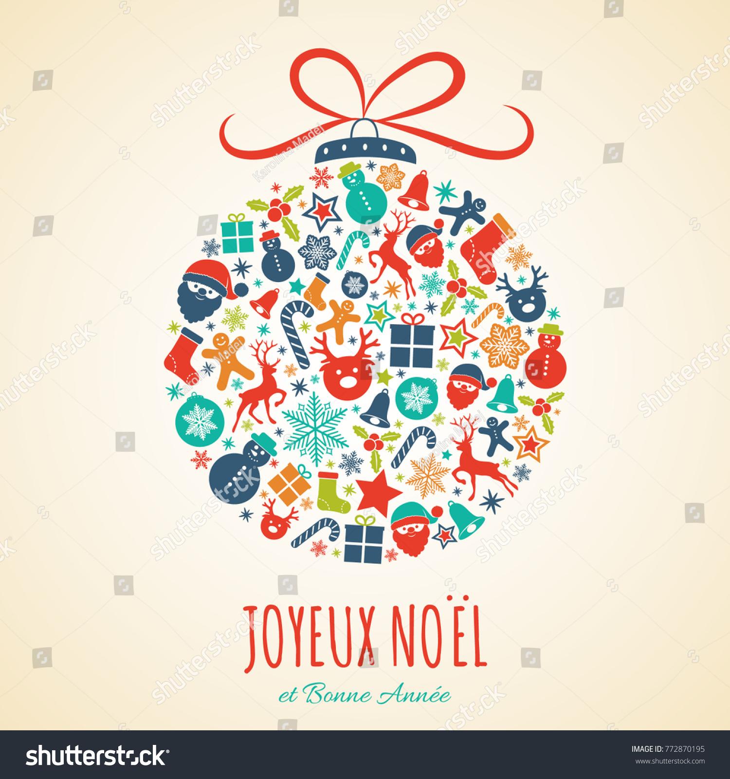 Joyeux Noel Merry Christmas French Christmas Stock Vector (Royalty ...