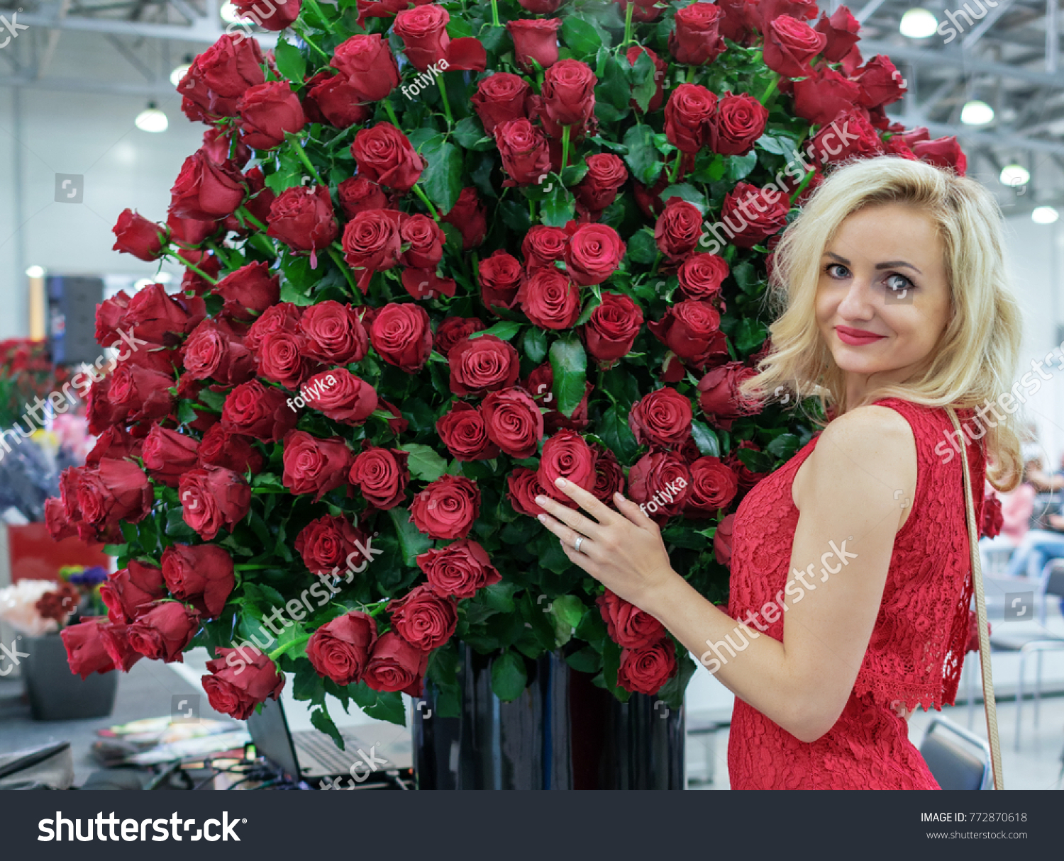 Large Bouquet Red Roses Presented Beautiful Stock Photo Edit Now