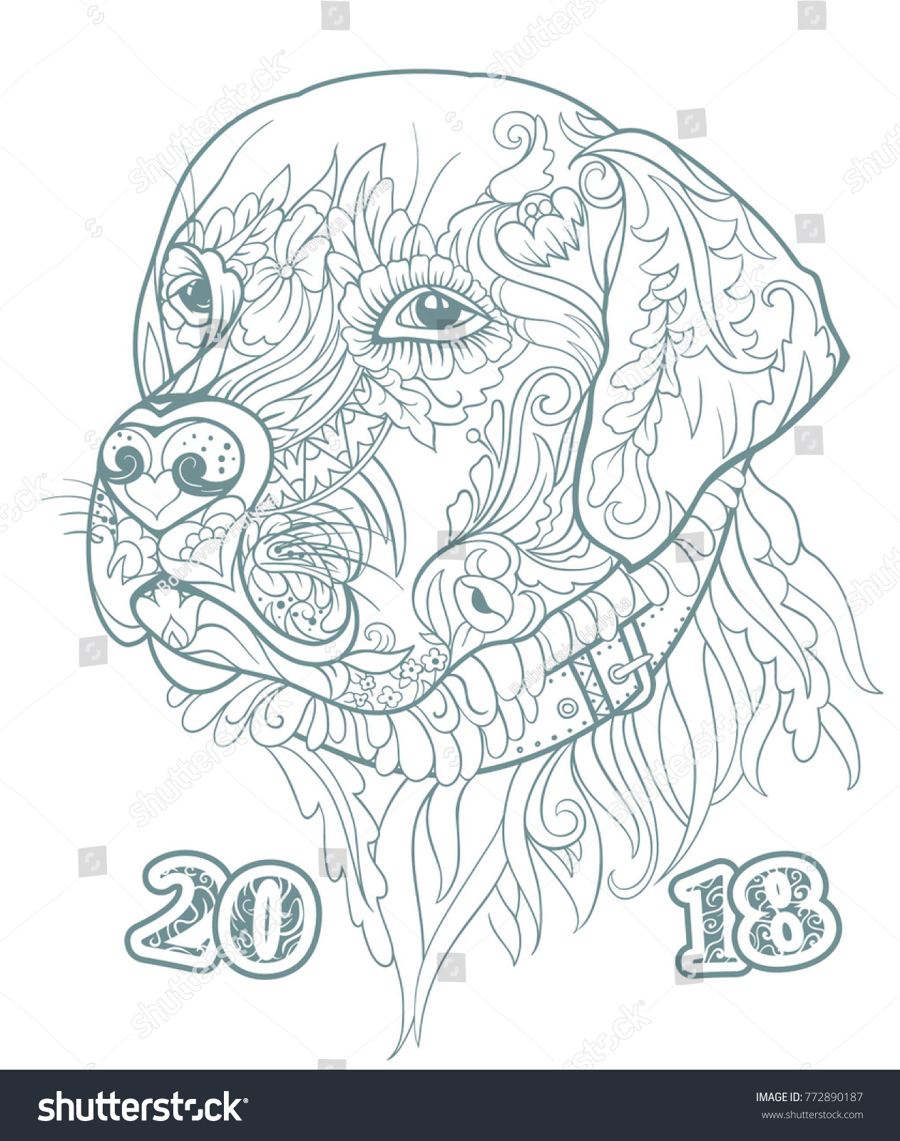 happy new year greeting card with zentangle cute dog hand drawn sketch for coloring page