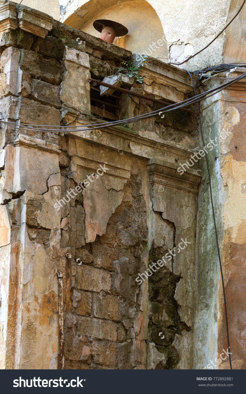 Old Wall Electric Wires Suspended Insulated Stock Photo Edit Now Low Voltage House Wiring An With Electrical For Isolators External