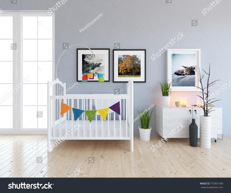 White Scandinavian Nursery Room Interior Crib Stock Illustration ...