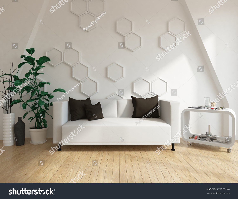 White Scandinavian Room Interior Furniture Vintage Stock ...