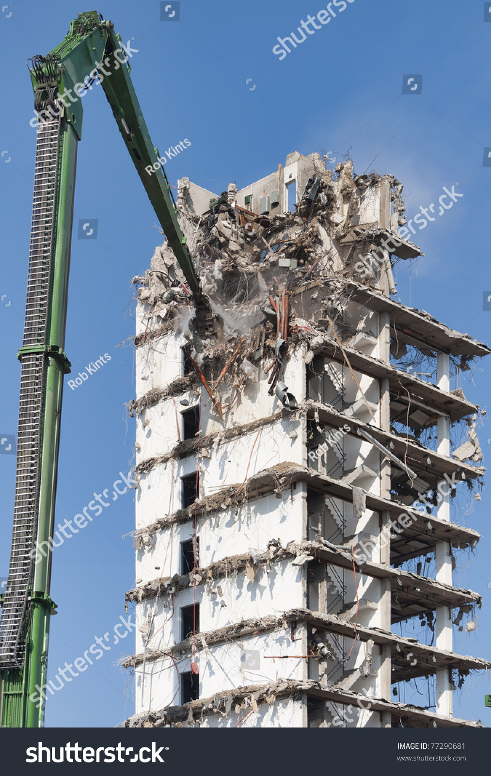 demolition of a highrise building stock photo 77290681