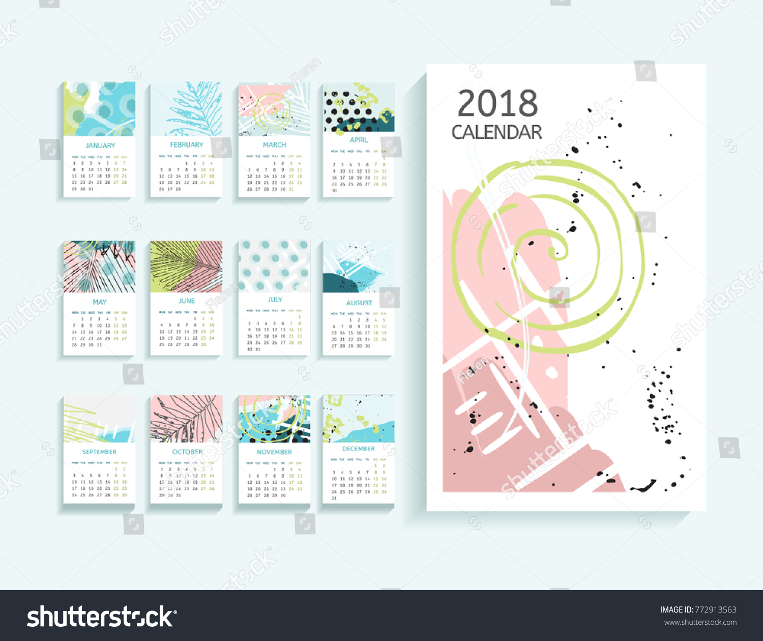 Calendar Abstract Art : Calendar abstract modern art monthly stock vector