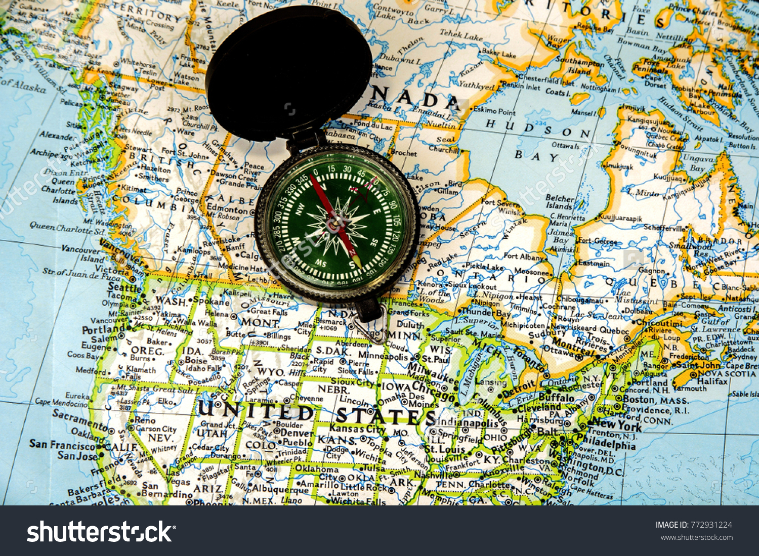 Usa Map Compass Stock Photo Edit Now 772931224