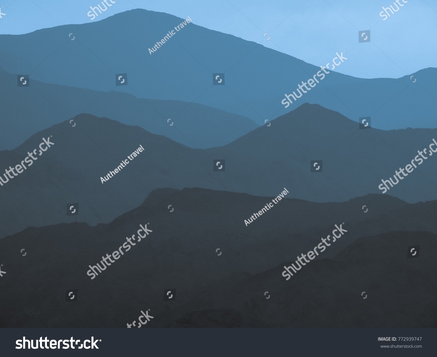 blue outline mountains magnificent natural scenery stock photo edit