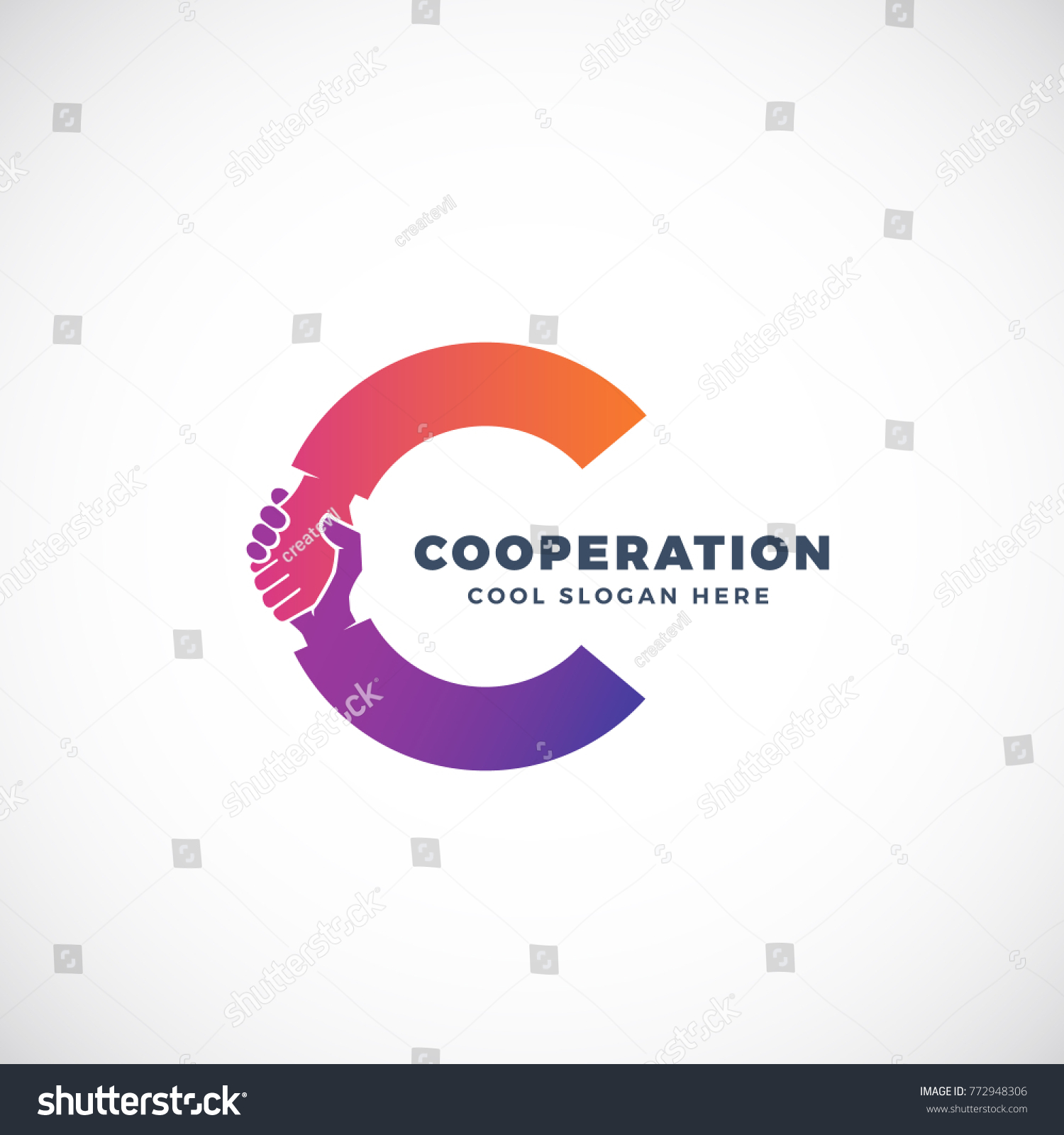 cooperation abstract sign symbol logo templateのイラスト素材