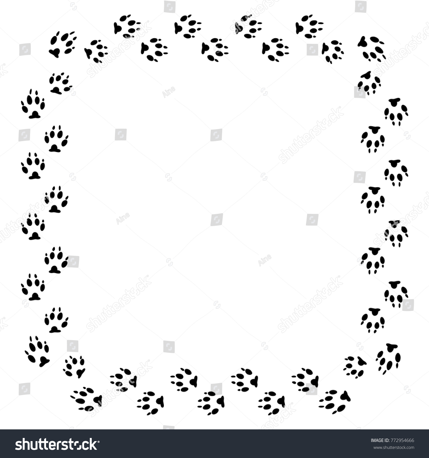 Square Frame Black Dog Track Isolated Stock Vector 772954666 ...