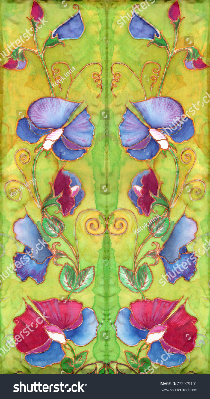 Panel Wallpaper Batik Drawing On Silk Stock Illustration 772979101