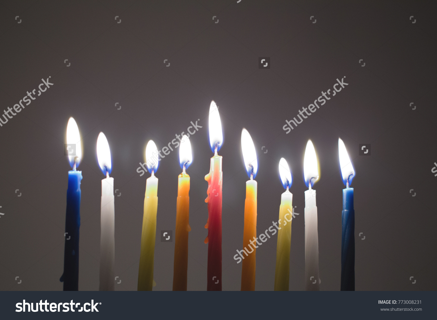 Candle Lighting Hanukkah Background Jewish Holidays Traditional Religious  Lights In The Dark