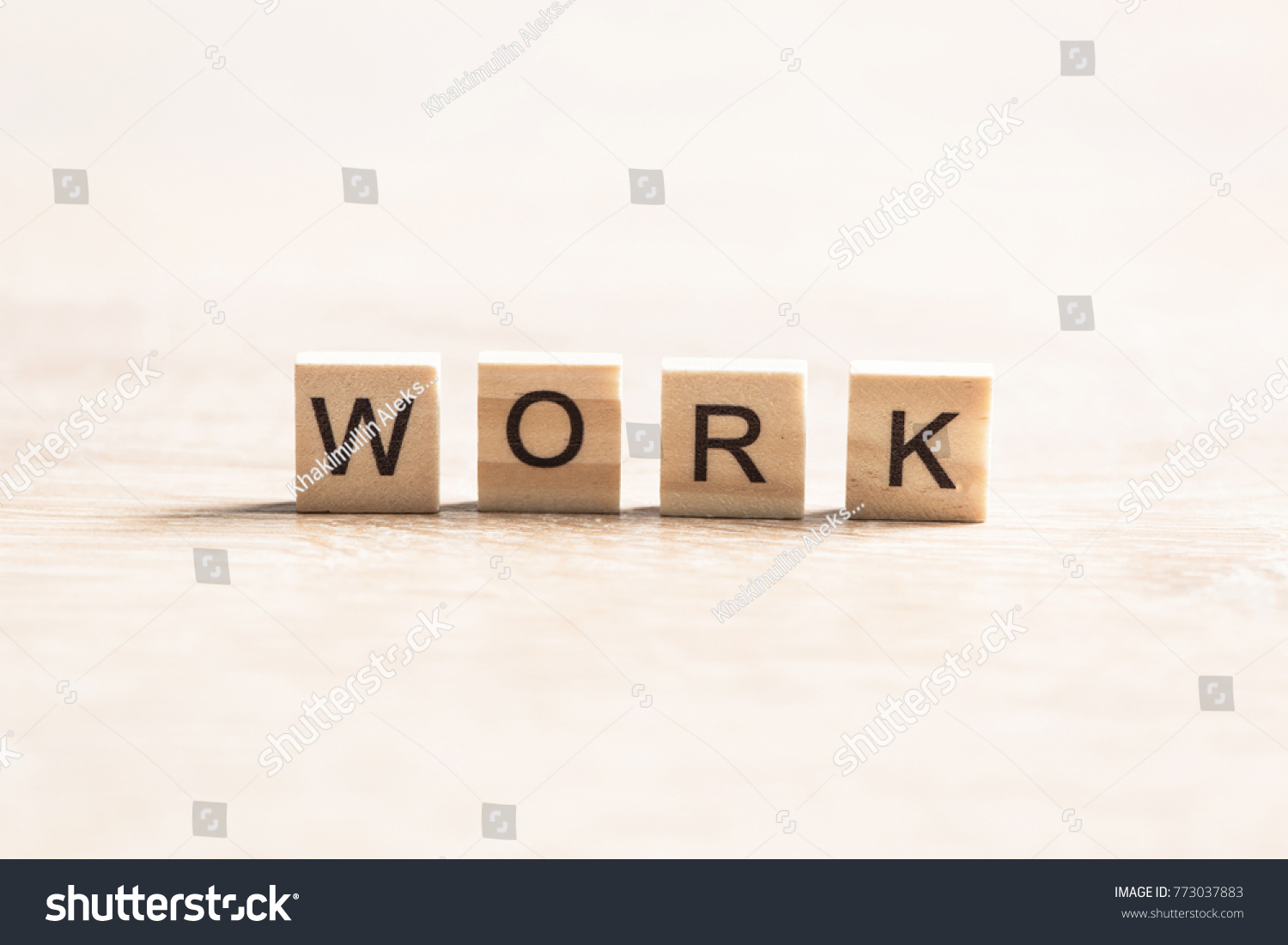 business work word collected of elements of wooden elements with the