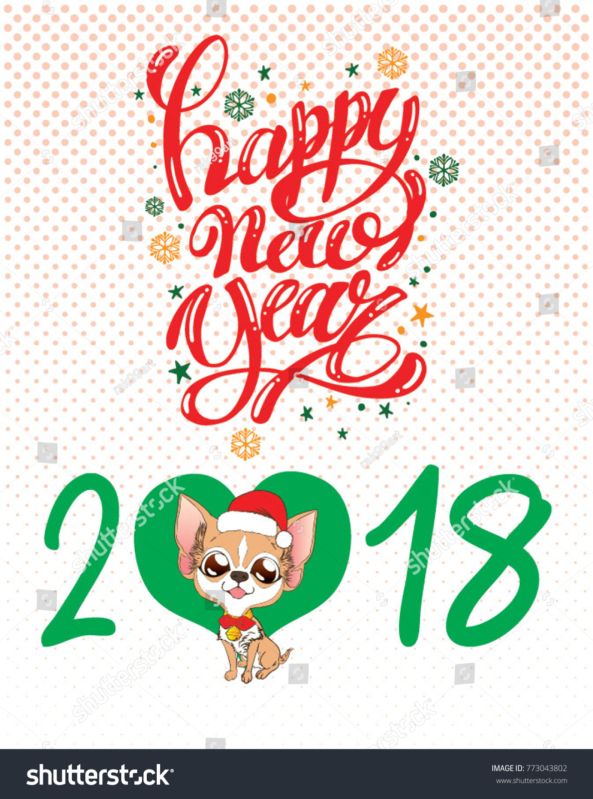 Happy New Year Greetings Cute Chihuahua Stock Vector Royalty Free