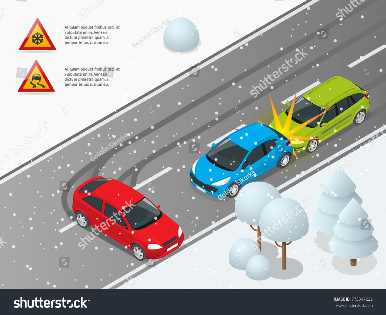 edfd23b34b Isometric Winter Slippery Road Car Accident Stock Vector (Royalty ...