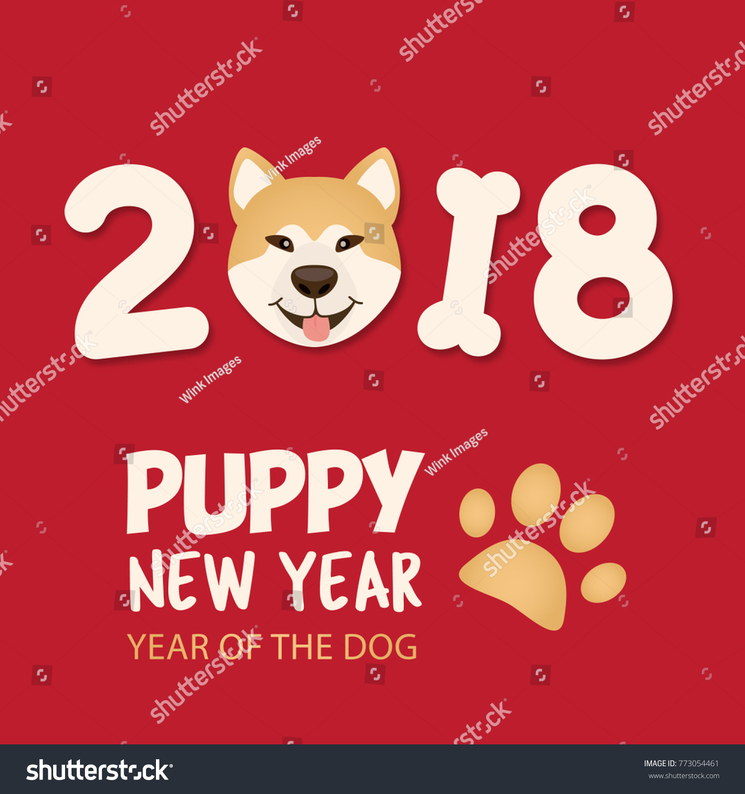 year of the dog 2018 puppy new year chinese happy new year design - Happy New Year Chinese